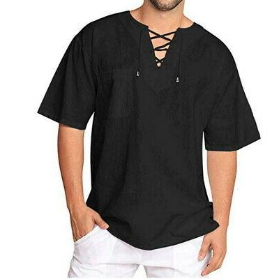 Mens T-Shirt Cotton Linen Tee Hippie Blouse Sleeve