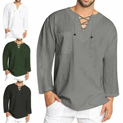 Mens Baggy T-Shirt Linen Tee Hippie Blouse Top