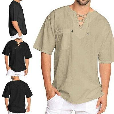 mens baggy t shirt cotton linen tee