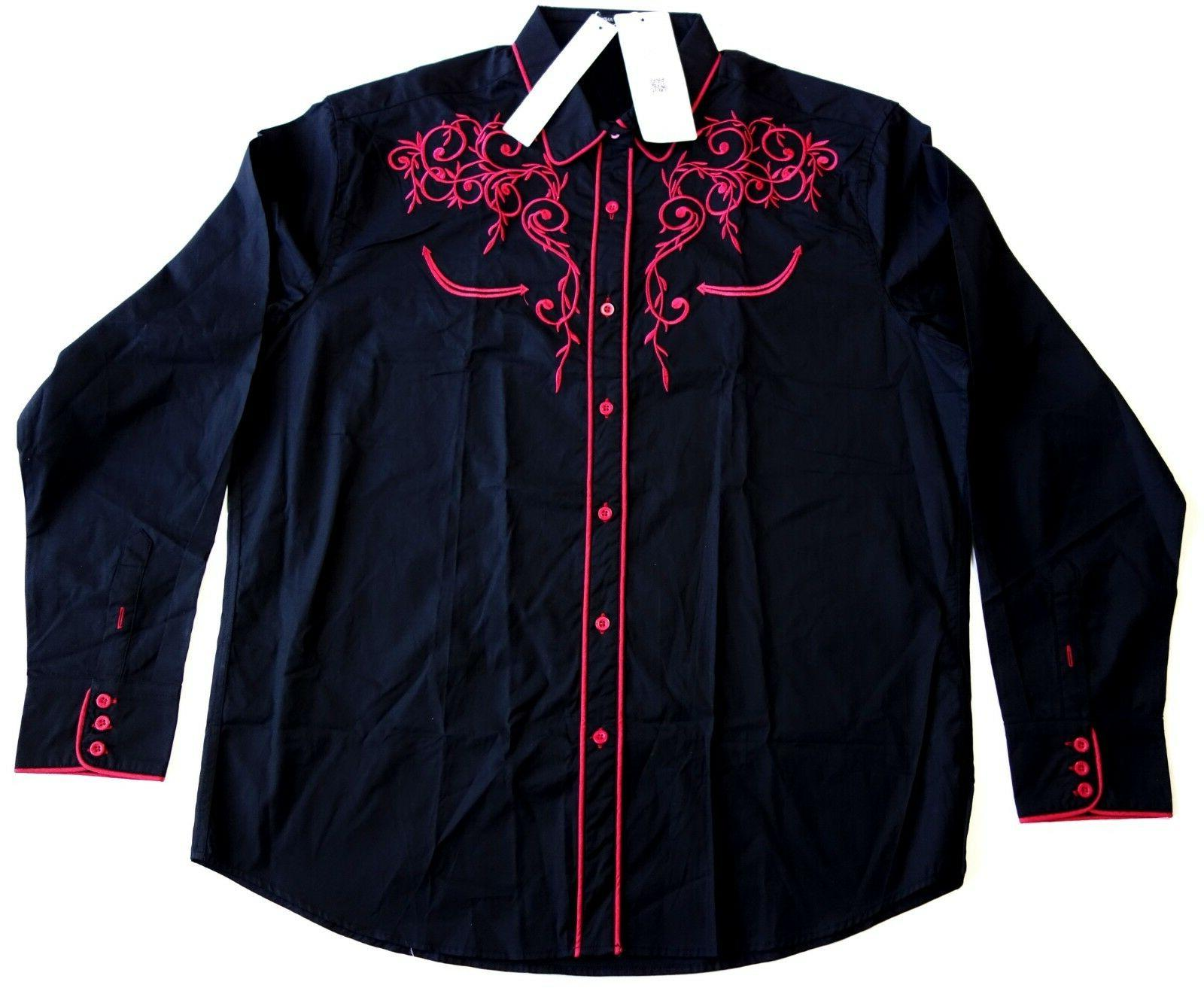 mens black embroidered long sleeve western shirt