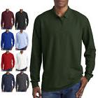 Gildan Mens Button Polo DryBlend Double Pique Long Sleeve Sp