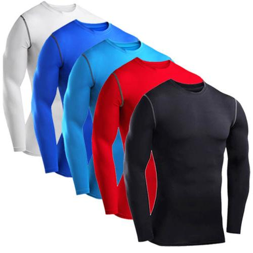 Mens Compression Top T-shirt Thermal Long Sleeve Under Tee