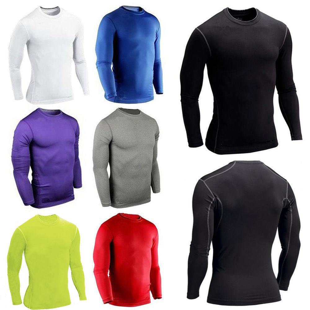 Mens Compression Base Top T-shirt Thermal Sleeve Shirt Tee