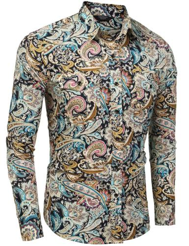COOFANDY Mens Floral Shirt Slim Fit Casual Paisley Printed Long Down