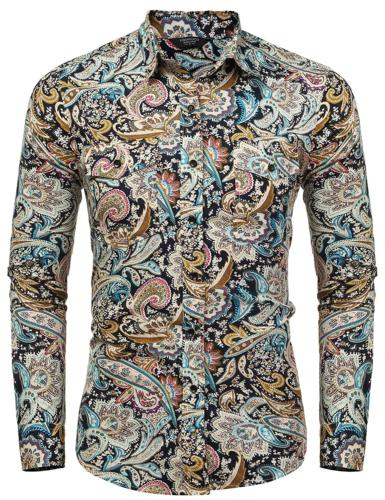 COOFANDY Floral Dress Shirt Slim Fit Casual Paisley Printed Shirt Down