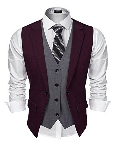 mens formal fashion layered vest waistcoat dress