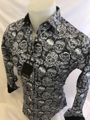 Mens PREMIERE Button Down BLACK WHITE SKULL 127