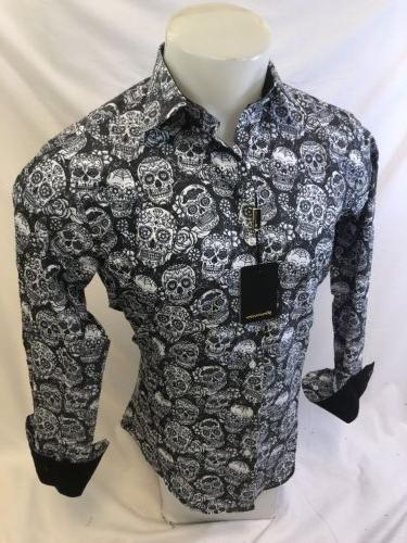 Mens PREMIERE Long Sleeve Button Down Dress Shirt BLACK WHITE SKULL 127