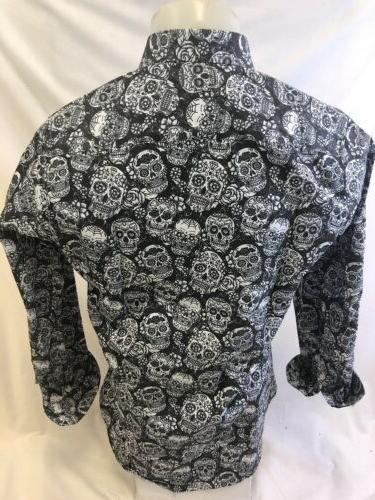 Mens PREMIERE Sleeve Button Dress BLACK ABSTRACT SKULL 127