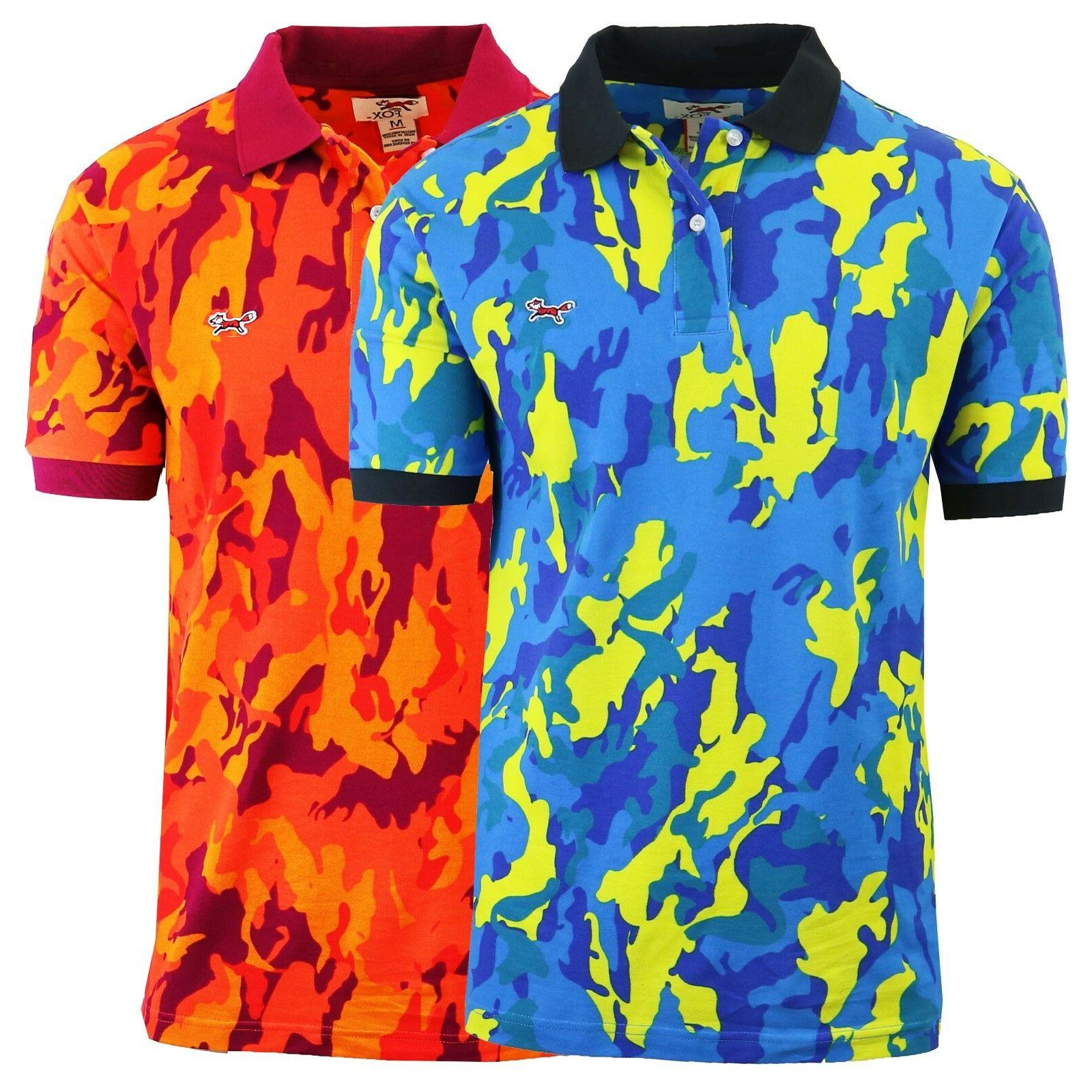 Mens Polo Shirts Camo Printed Cotton Slim Fit Lounge Dress C