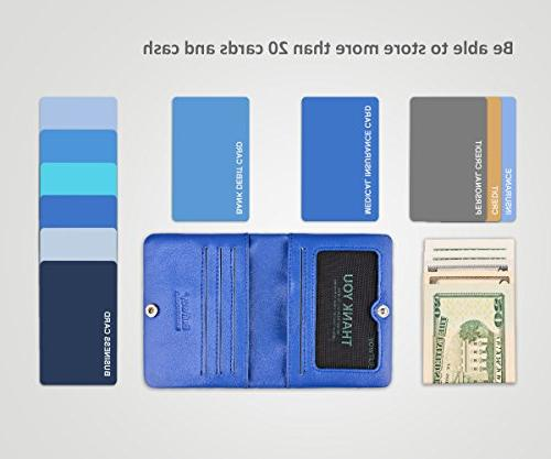 Slim Minimalist Leather Small for Men Pocket and Card Slots - Blue