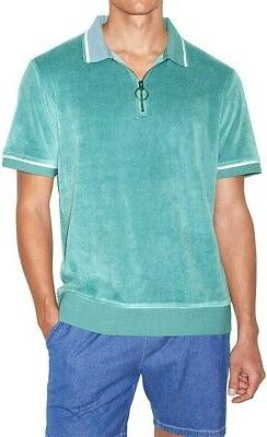 American Apparel Mens Shirt Artic Green Size Large L Velour