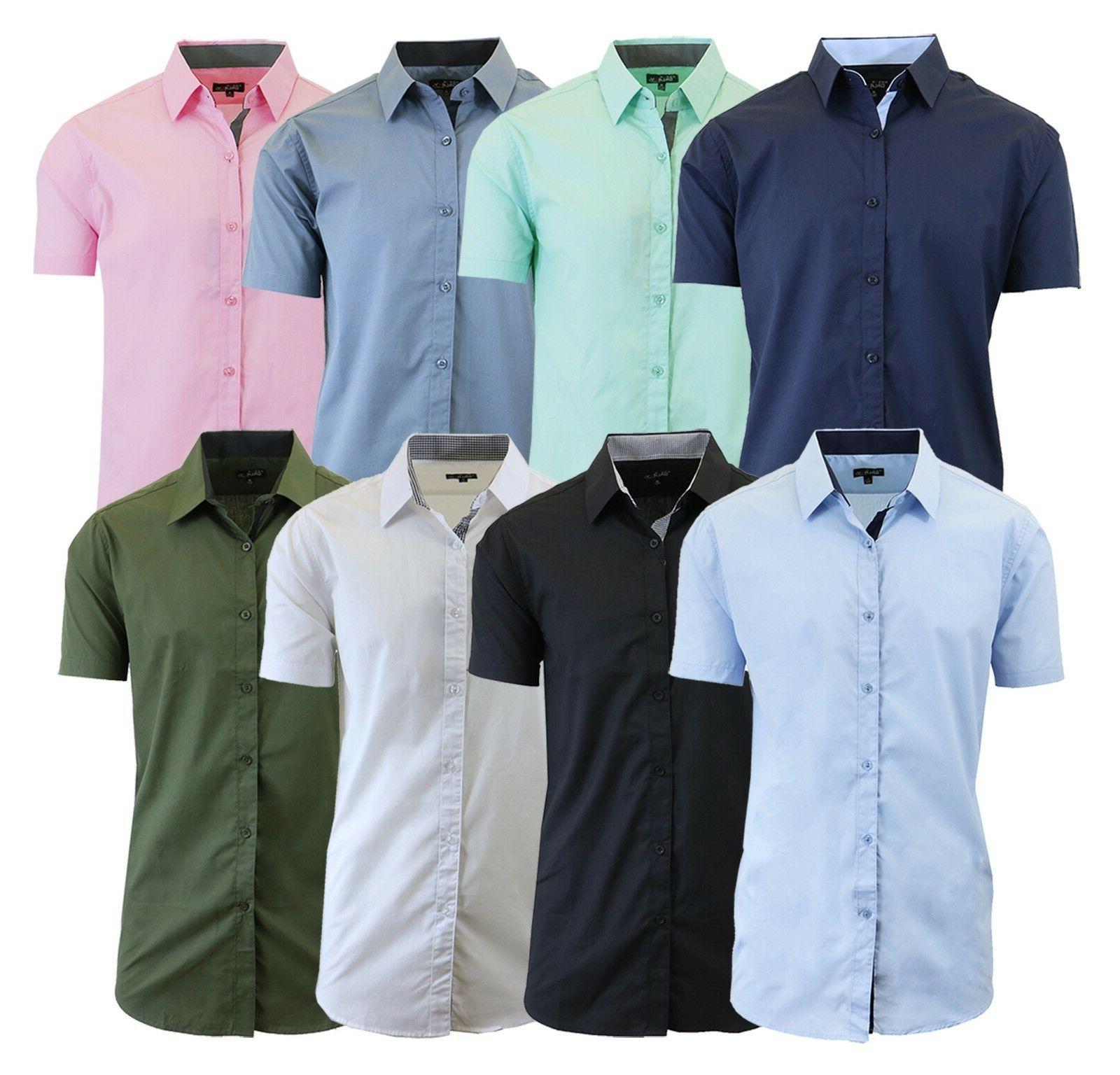 Mens Short Sleeve Dress Shirts Button Down Slim Fit Casual S