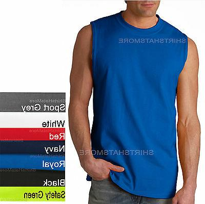 mens sleeveless muscle t shirt shooter cotton