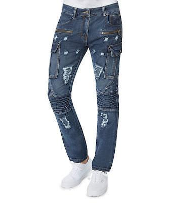 Mens Slim Fit Distressed Moto Zipper Cargo Jeans by Trillnat