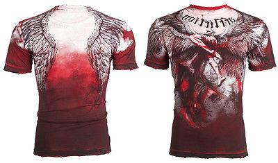 AFFLICTION T-Shirt Angel RED Motorcycle