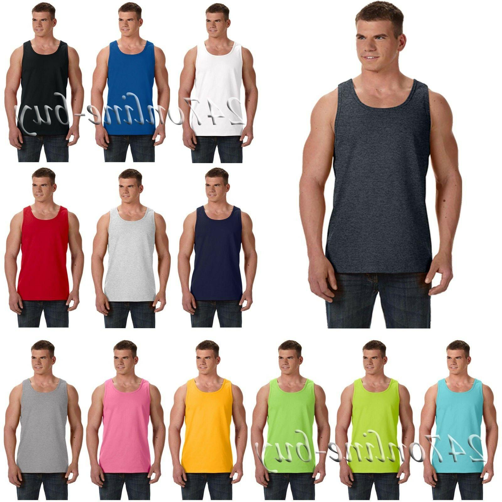 Fruit Of The Loom Mens Tank Top Shirt 100% Heavy Cotton HD S