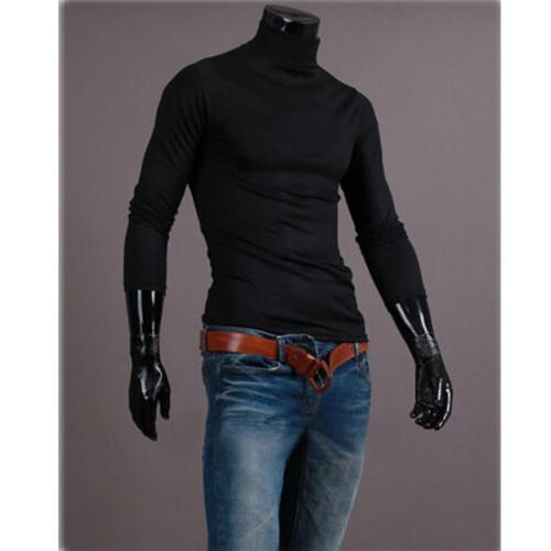 Mens Neck Skivvy Sweaters Stretch Tops