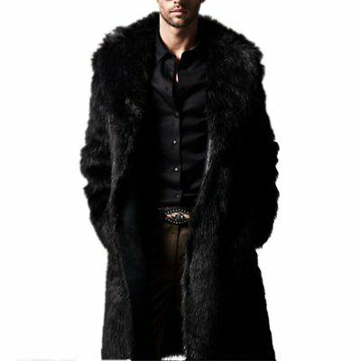Mens Winter Fur Warm Fashion Overcoat Clothes Jacket