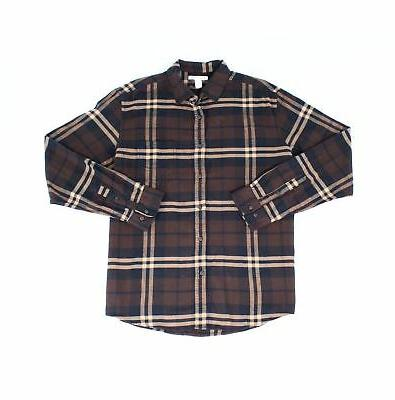 new brown mens large l button down