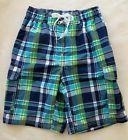 New ~ KANU SURF Swim Trunks Bottoms Mens Blue Green Plaid Me