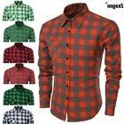 Stylish Men's Casual Plaid Slim Fit Shirts Turn down Collar