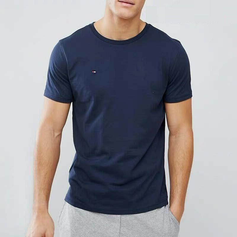 Tommy Hilfiger Mens Crew Neck Tee Classic Fit Short Sleeve Solid Shirt