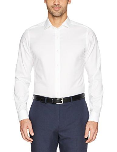 """BUTTONED DOWN Fit Spread-Collar Solid Dress Shirt , White, 16.5"""" Neck 35"""" Sleeve"""