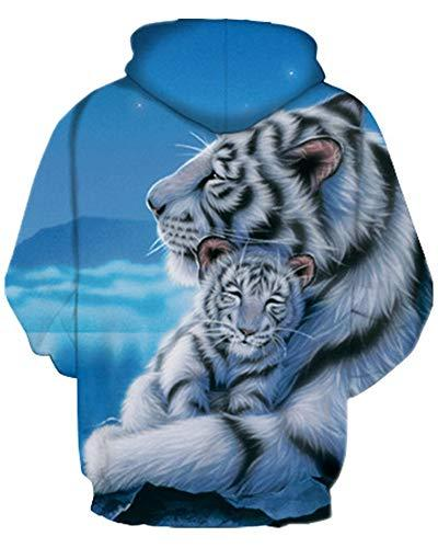 GLUDEAR Unisex All Print Casual Hooded Sweashirt with Pockets,White Tiger,5-6Y