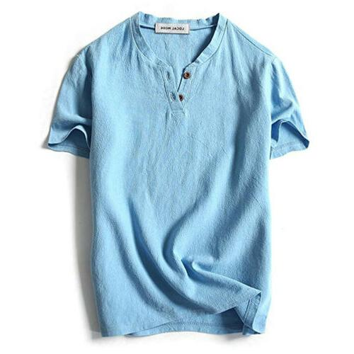 US Baggy T Shirt Linen Hippie Shirts Short Sleeve Top Breathable