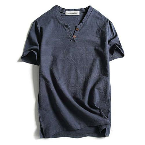 US Baggy Shirt Linen Tee Hippie Short Top Breathable