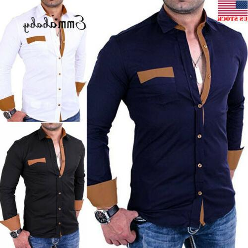 US Mens Fashion Luxury Stylish Casual Dress Slim Fit T-Shirt
