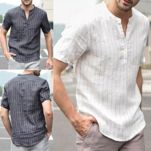 US Summer Men's V Neck Basic T-shirt Tops Blouse