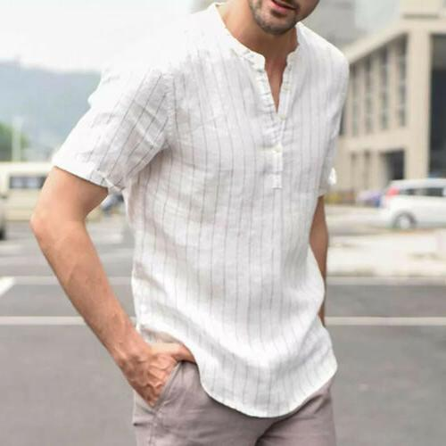 US Men's V Neck Basic Tee Casual Tops