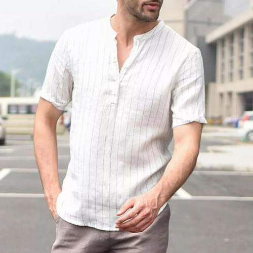 US Men's Linen V Neck Basic Tee Tops
