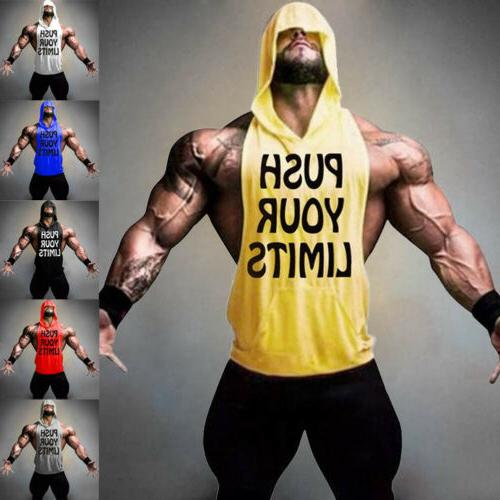 USA Men Bodybuilding Stringer Hoodie Top Muscle