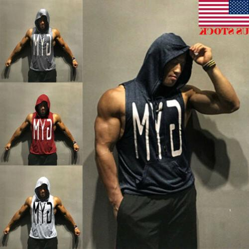 usa men gym clothing bodybuilding stringer hoodie