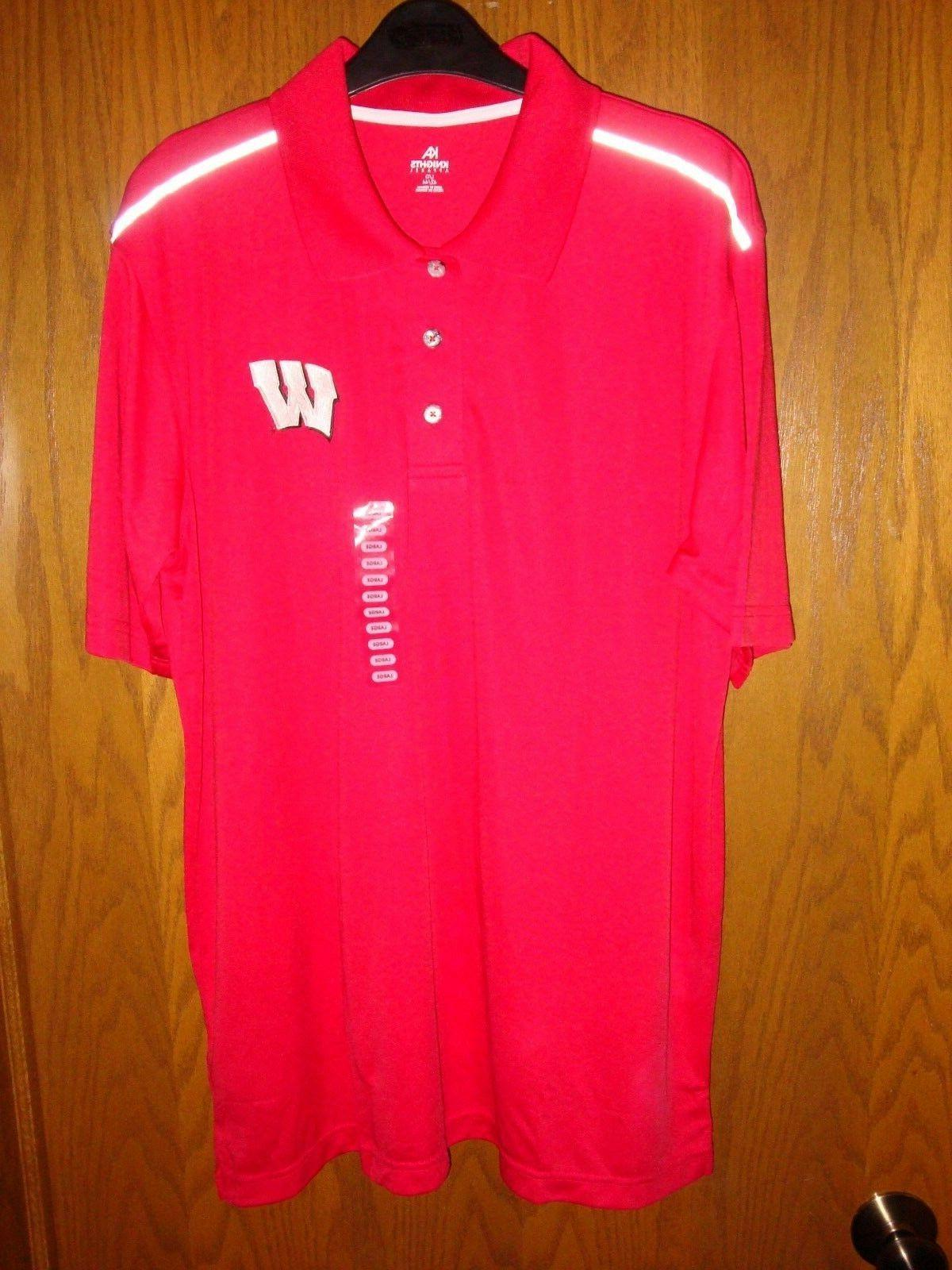 wisconsin badgers mens 3 button polo size
