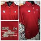 Under Armour Wisconsin Badgers Performance Polo Golf Red Men