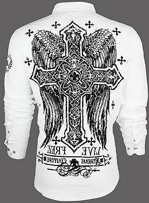 XTREME COUTURE by AFFLICTION Mens BUTTON DOWN Shirt FREE TO