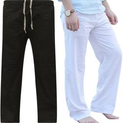Men Cotton Sport Wide Leg Pants Beach Drawstring Yoga Long S