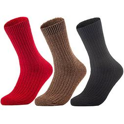 Lian LifeStyle Men's 3 Pairs Knitted Wool Crew Socks FS03 Si