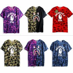Men's A Bathing Ape T-shirt Shark Camo Bape tee US size