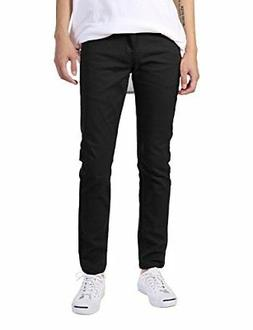 JD Apparel Men's Basic Casual Jeans, Stretchy Skinny Fit Twi