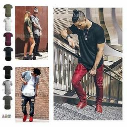 Mens Basic Extended Long T- Shirt Elongated Fashion Casual C
