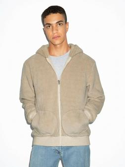 American Apparel Men's Beige Zip-Up Cotton Hoodie Size: Medi