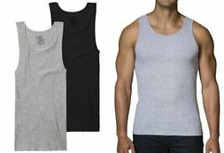 Fruit of the Loom Men's Black/Gray A-Shirts, 2 Pack