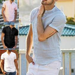 Men's Linen Short Sleeve Solid Shirts Casual Loose Dress Sof