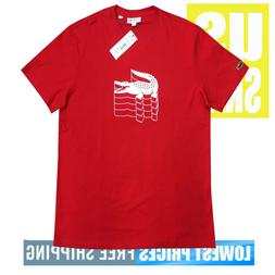 Lacoste Men's New With Tags RED 240 Croc Print Design T Shir