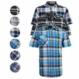 Men's Plaid Checkered Button Down Casual Short Sleeve Regula